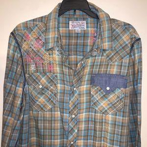 True Religion Plaid Western Shirt, Size Medium